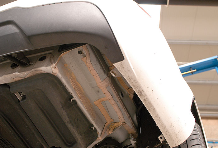 Right side arch on OEM rear bumper