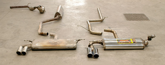 Stock VS prototype of 770513 Centre pipe + 770904 Rear exhaust + 764516 Endpipe OO80