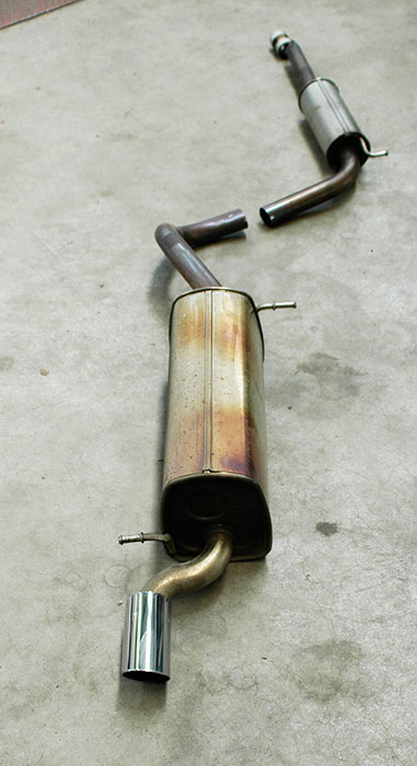 Stock centre and rear exhaust