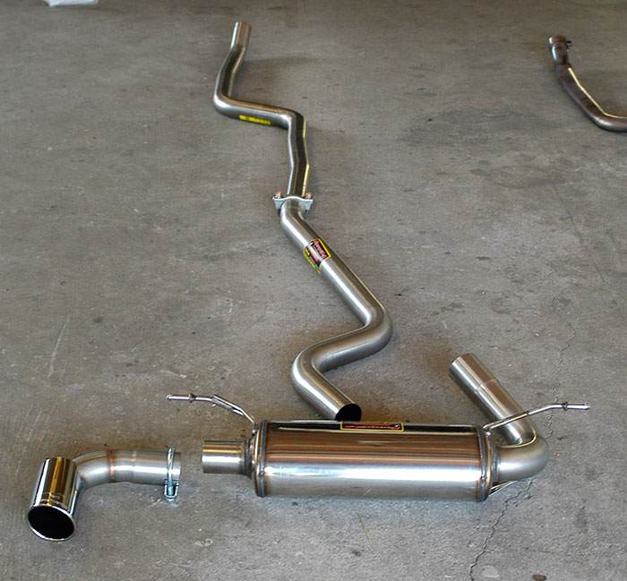 988312 Front pipe + 988313 Centre connecting pipe + 988304 Rear exhaust + 988314 Endpipe O 90