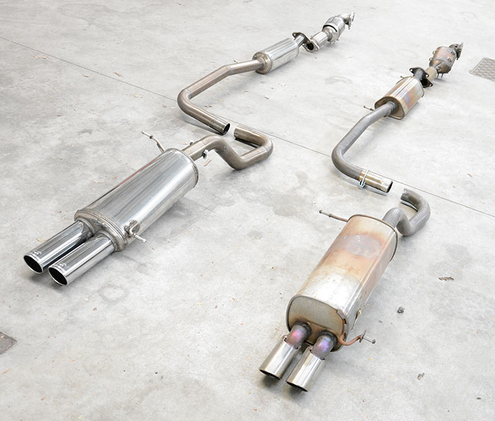 Prototype of Supersprint full exhaust system VS Stock