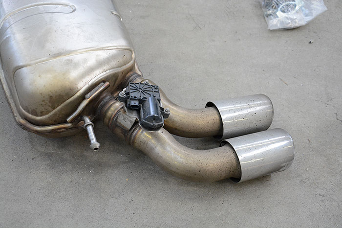 Detail of stock rear exhaust with valve