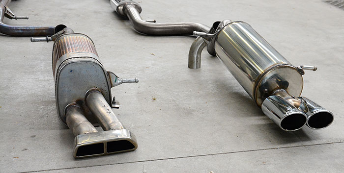 Stock rear exhaust VS 805704 Rear exhaust + 805717 Endpipe kit 90x70