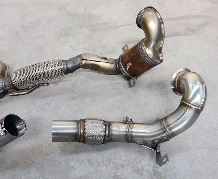Audi S1 Sportback Supersprint downpipe 773911 vs Stock downpipe with ceramic cat