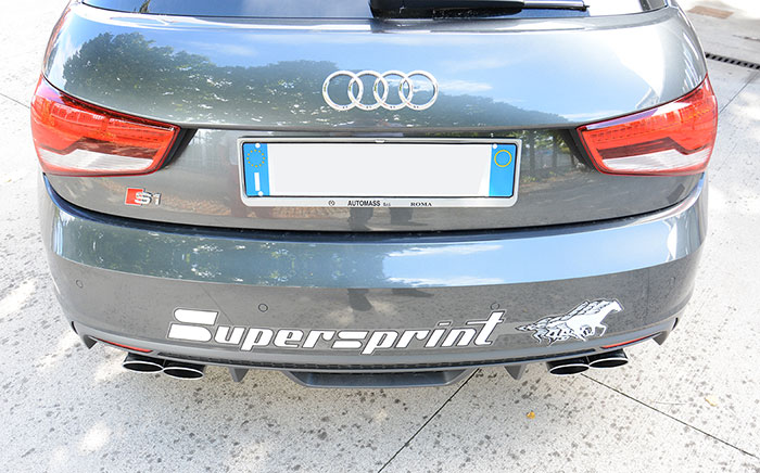 "Audi S1 Sportback sport exhaust ""Twin Pipe Design"" Supersprint fitted - 100x75mm oval tips"