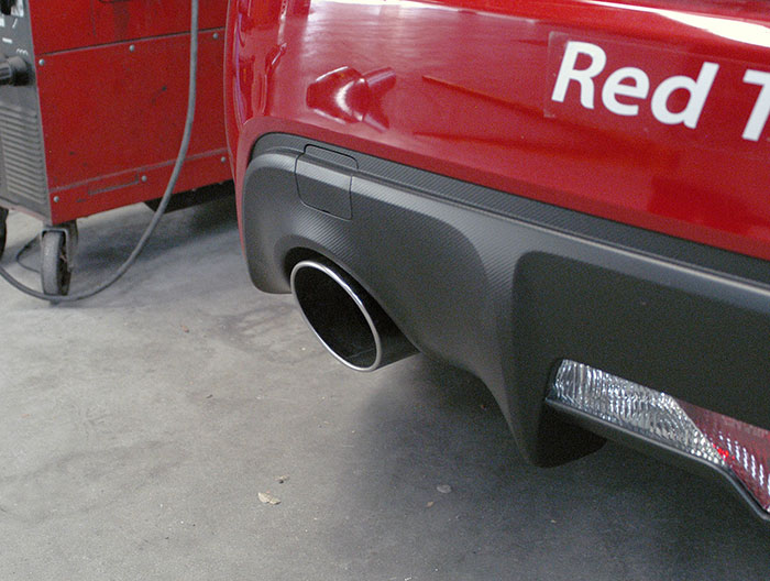 Prototype endpipes on stock muffler