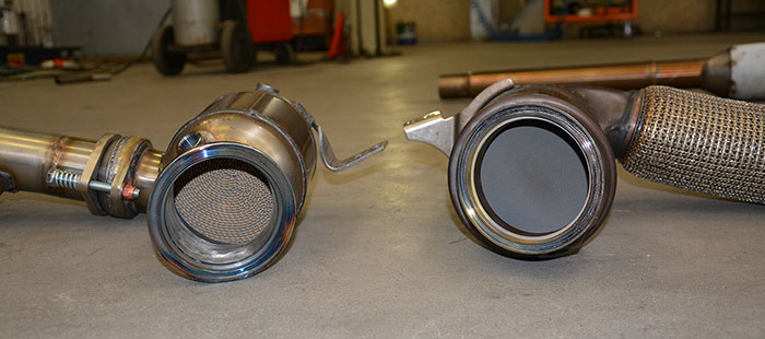 831821 turbo downpipe with HJS high flow sport metallic cat VS Stock