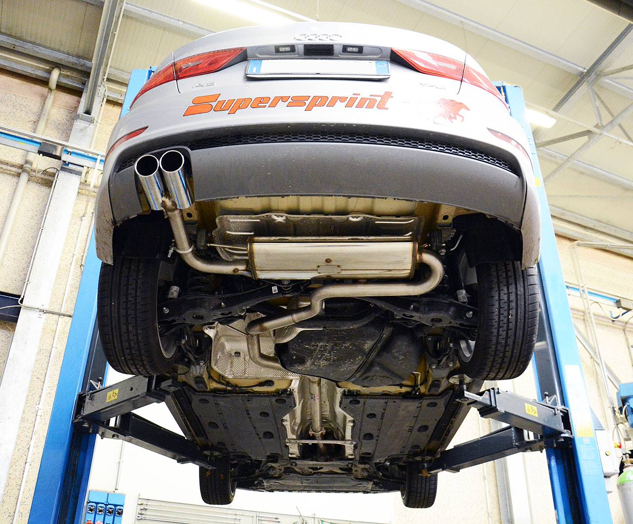 Supersprint sport exhaust 2 outputs with tailpipes 772816 and rear muffler 772804 for AUDI A3 8V Sedan 1.8 TFSI