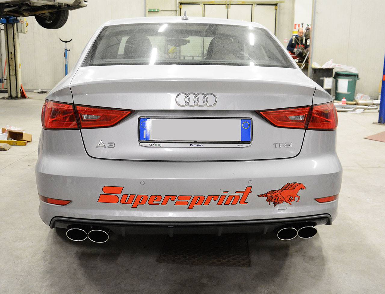 Supersprint sport exhaust 4 outputs composed by tailpipes 765927, rear muffler 772954, centre exhaust 772913 and turbo downpipe with cat 100 CPSi 772821 for AUDI A3 8V Sedan 1.8 TFSI
