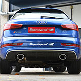 New exhaust system for Audi RS Q3 with bypass valve and dual oval outlets