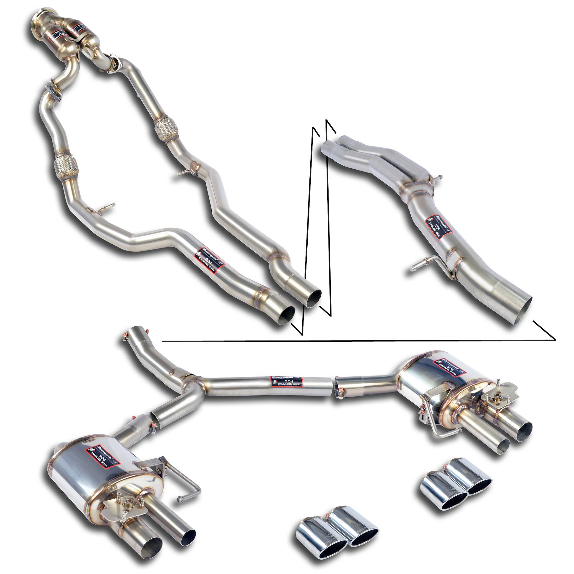 Performance sport exhaust for Audi S4 B9 with valve, AUDI S4