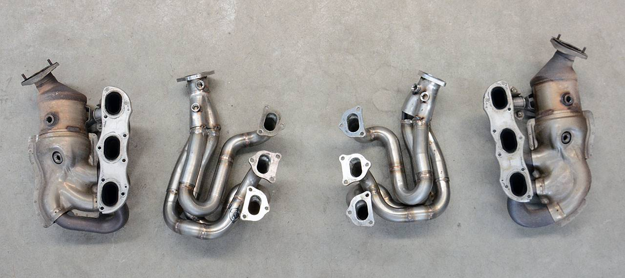 Porsche 981 - Stock headers vs Supersprint headers 248001 (prototype not welded)