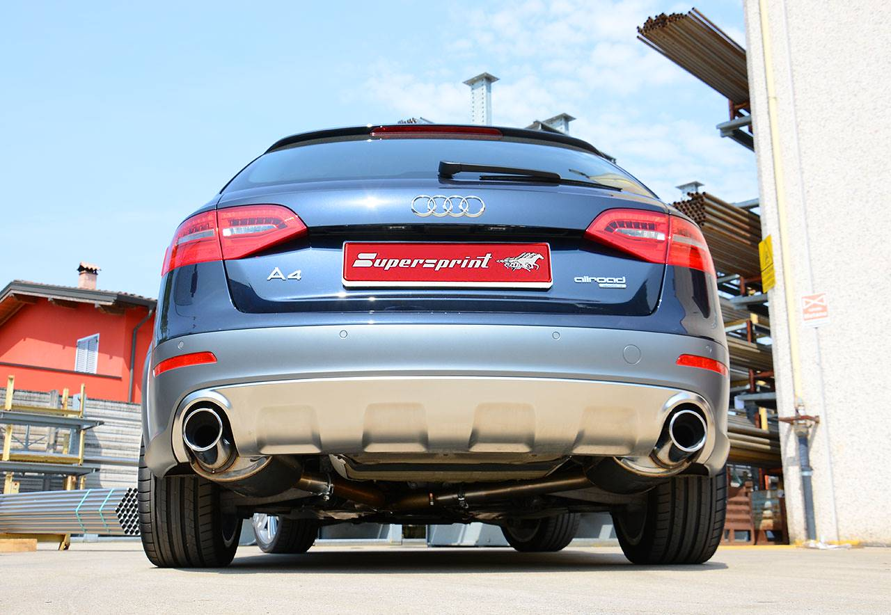 Audi A4 B8 Allroad with Supersprint sport exhaust tailpipes 100mm