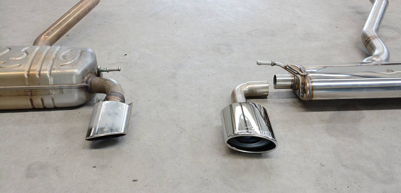 Exhaust Mercedes A250 W176: Supersprint VS Stock - Tailpipes detail