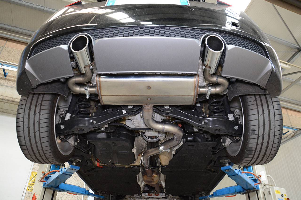 Supersprint exhaust for Audi TT Mk3 - Prototype muffler without valve with 100mm round tips for OEM bumper