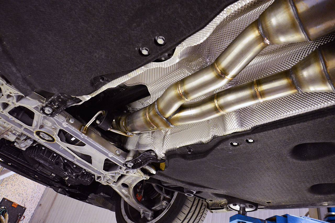 "Full exhaust ""Twin pipe design"" prototype for Audi TTS 8S Mk3 - front pipes"