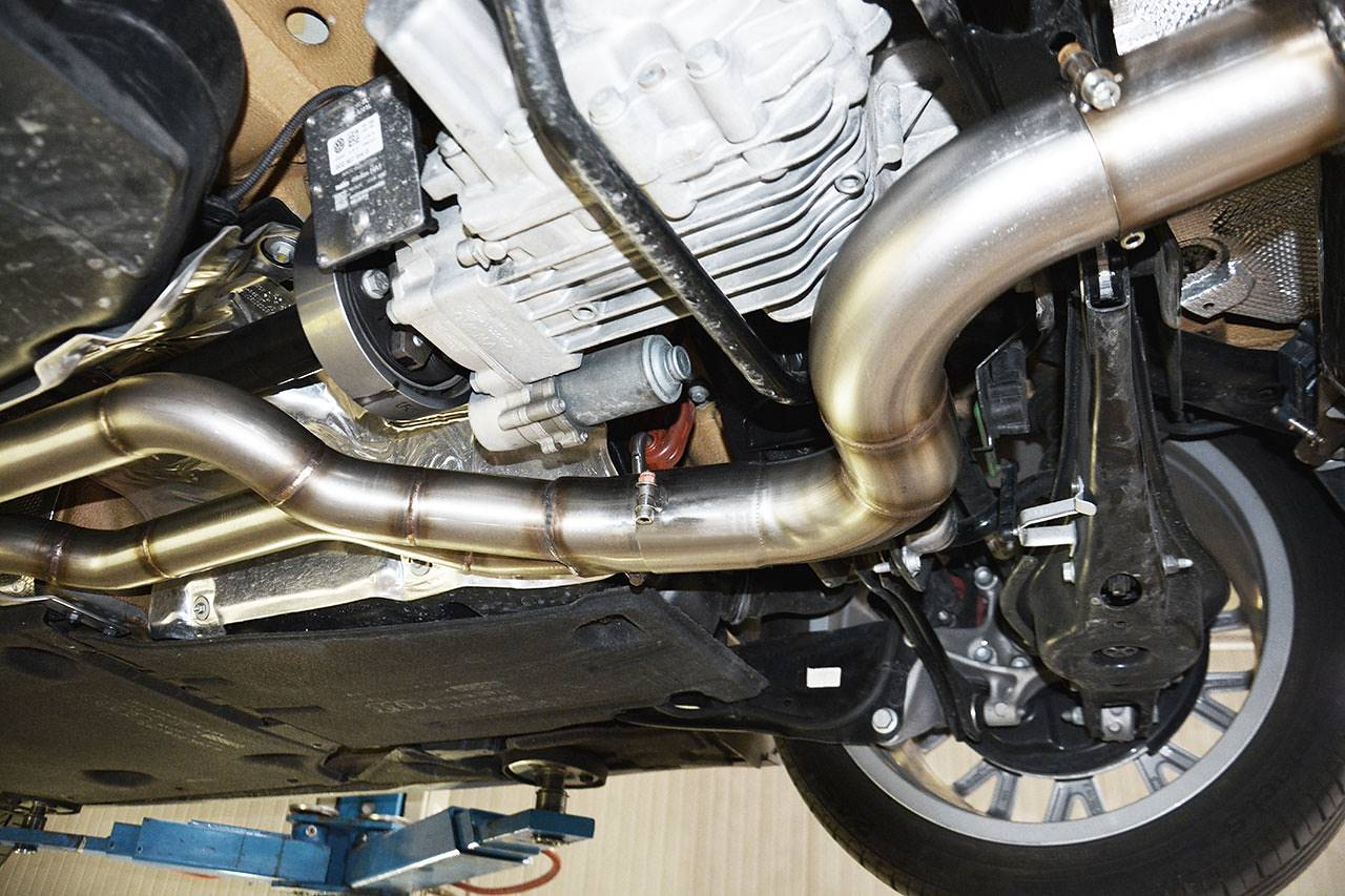 "Full exhaust ""Twin pipe design"" prototype for Audi TTS 8S Mk3 - centre pipes"