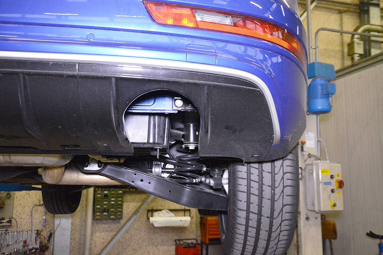 Audi RS Q3 rear bumper modified with molded right side valance for dual exhaust