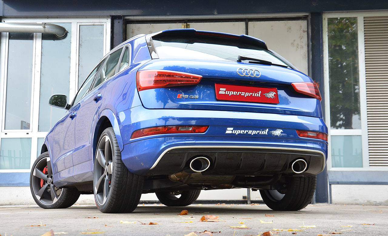 Supersprint dual exhaust for Audi RS Q3 with 150x105mm tips