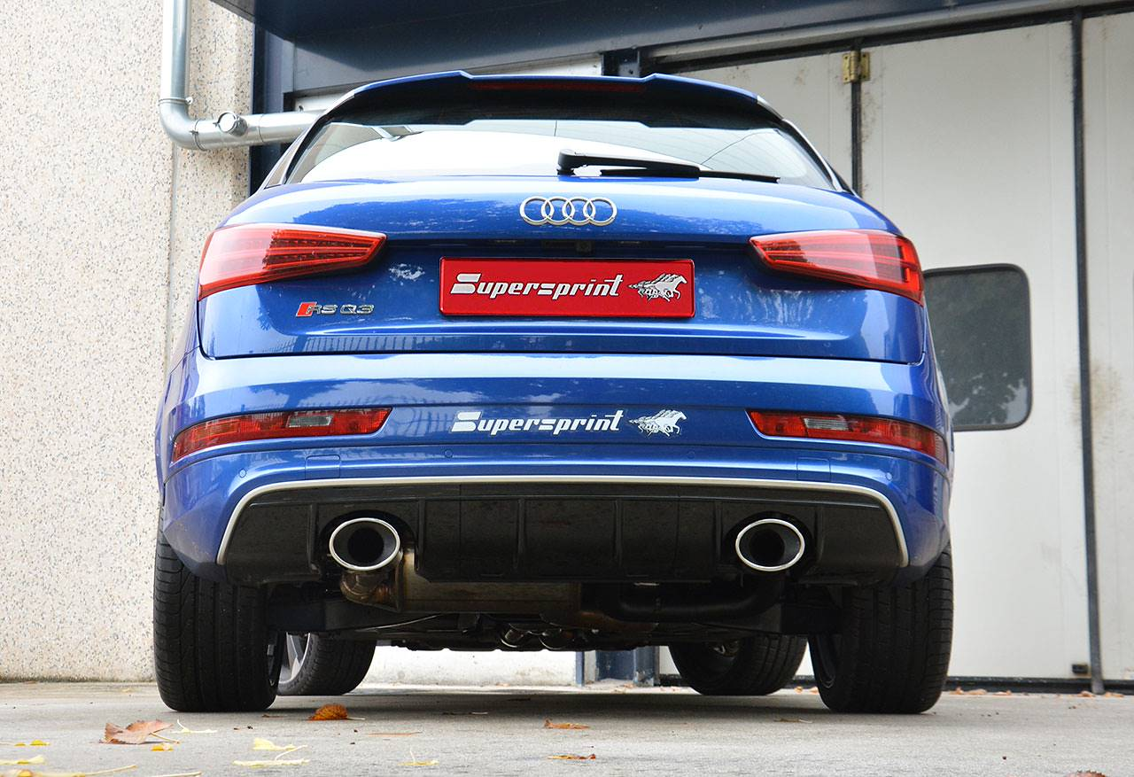 Scarico Supersprint destro sinistro con terminali ovali 150x105mm Audi RS Q3