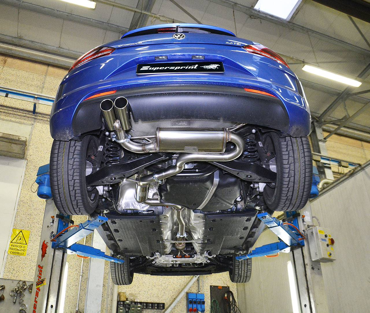 Supersprint centre resonator 914203, rear muffler 765204, tailpipes 2x80mm 914116 on Scirocco TSi 2015