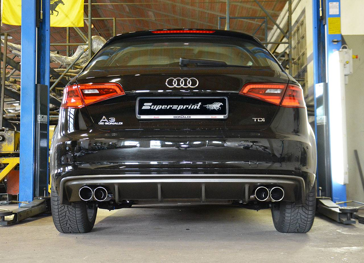 Supersprint quad exhaust for Audi A3 8v / 8va  with Rieger diffuser