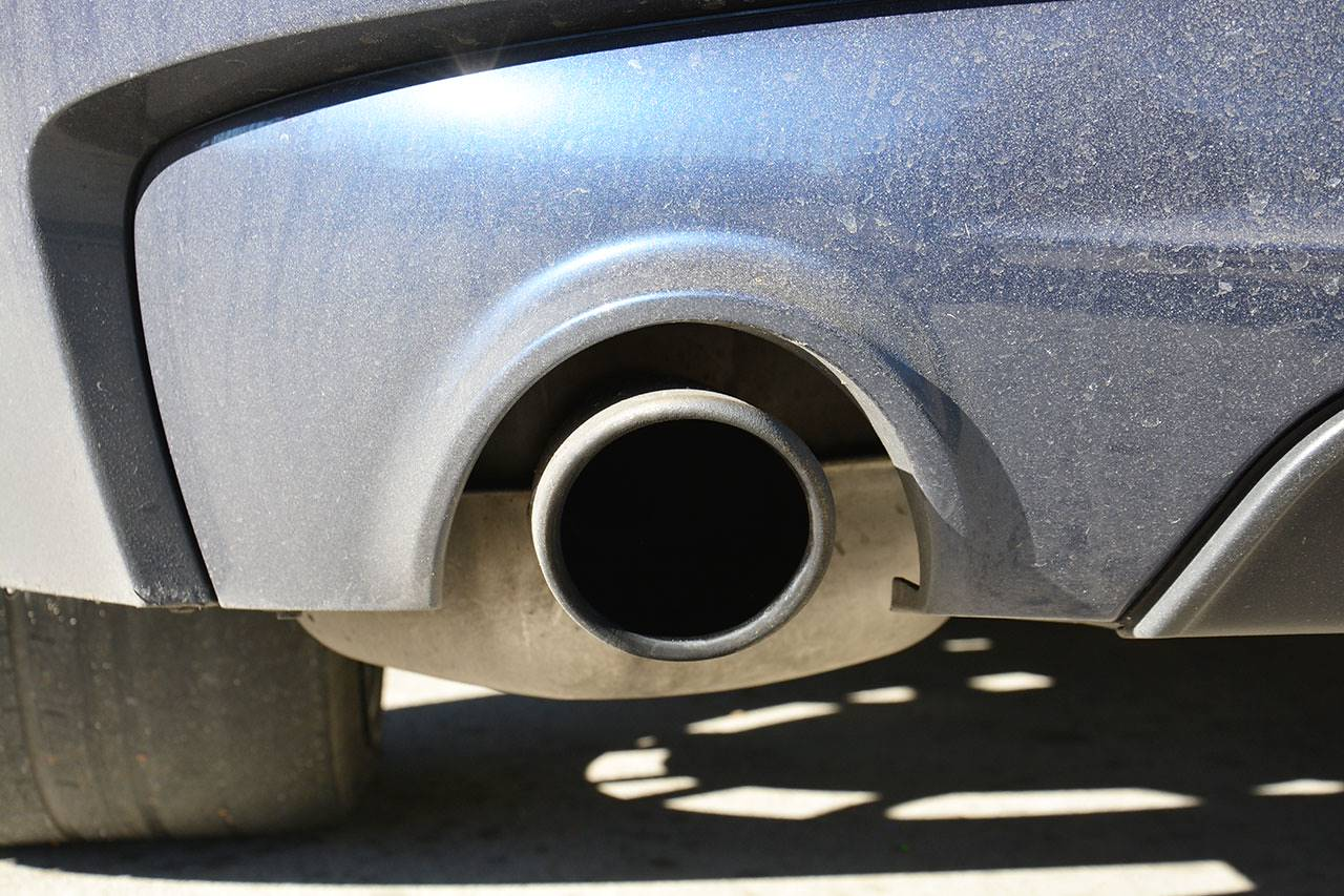 Detail of stock tailpipe