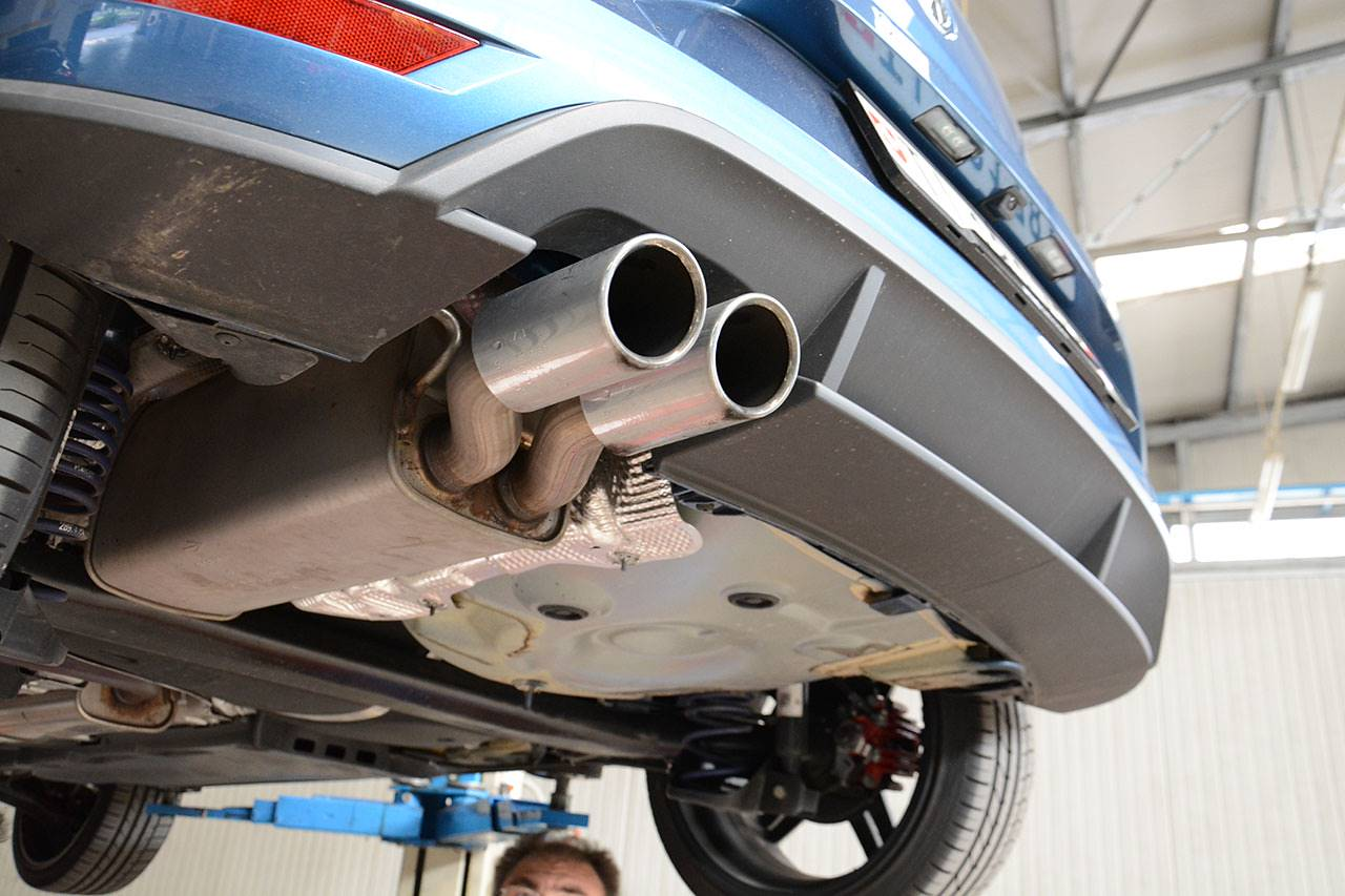 VW Polo 6C GTI 1.8 TSI at Supersprint- stock exhaust, OEM muffler