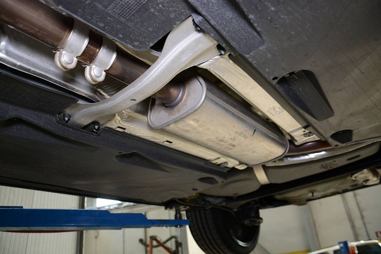 VW Polo 6C GTI 1.8 TSI at Supersprint- stock exhaust, centre resonator